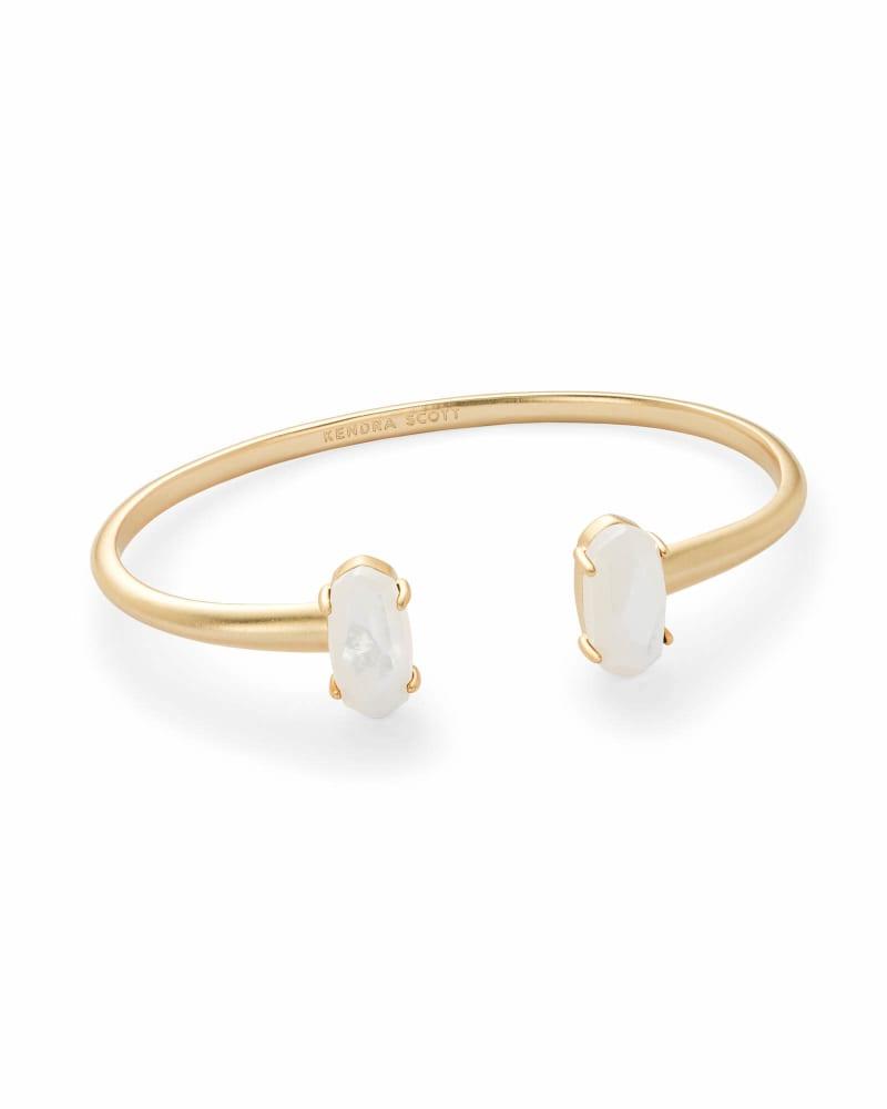Edie Gold Cuff Bracelet in Ivory Pearl