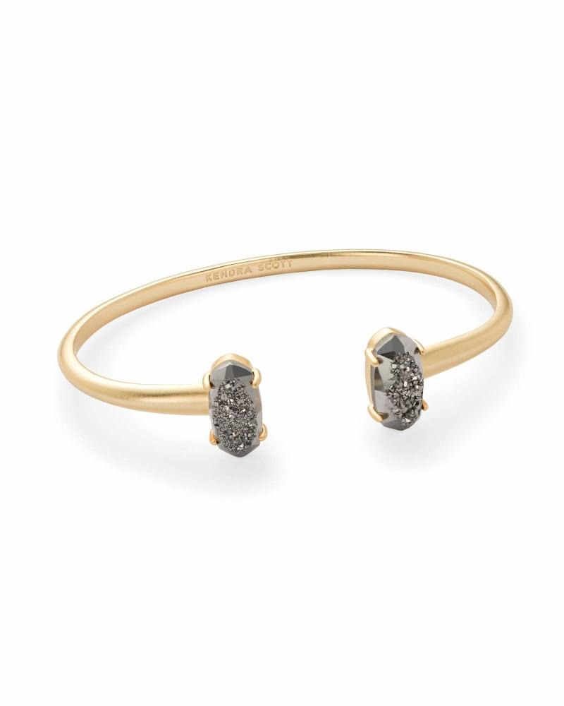 Edie Gold Cuff Bracelet in Platinum Drusy