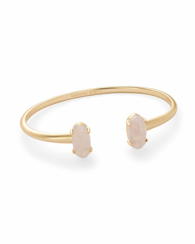 Edie Gold Cuff Bracelet in Rose Quartz