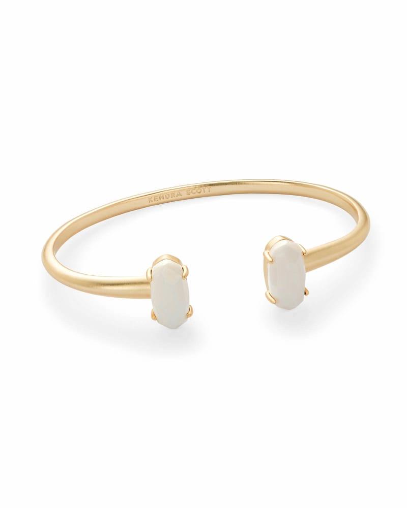 Edie Gold Cuff Bracelet in White Pearl