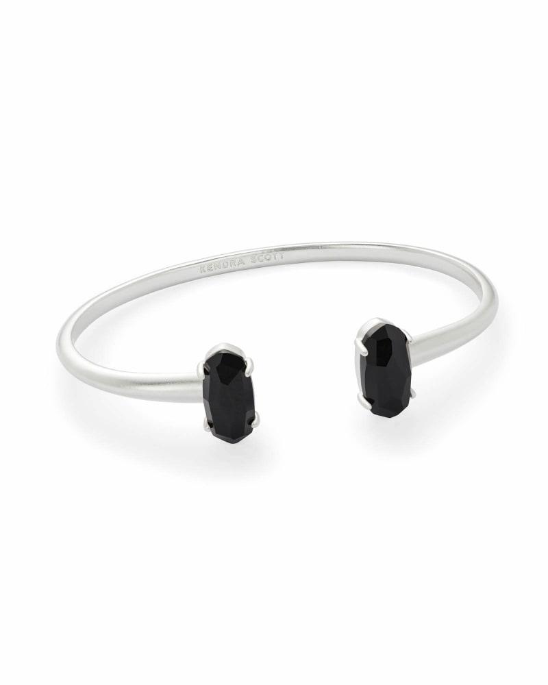 Edie Silver Cuff Bracelet in Black Opaque Glass