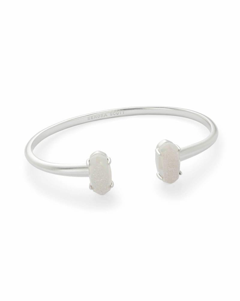 Edie Silver Cuff Bracelet in Iridescent Drusy