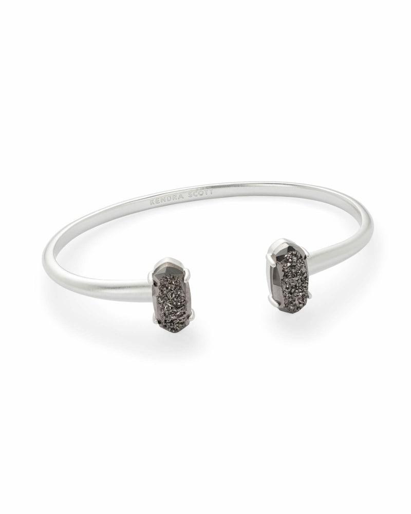 Edie Silver Cuff Bracelet in Platinum Drusy