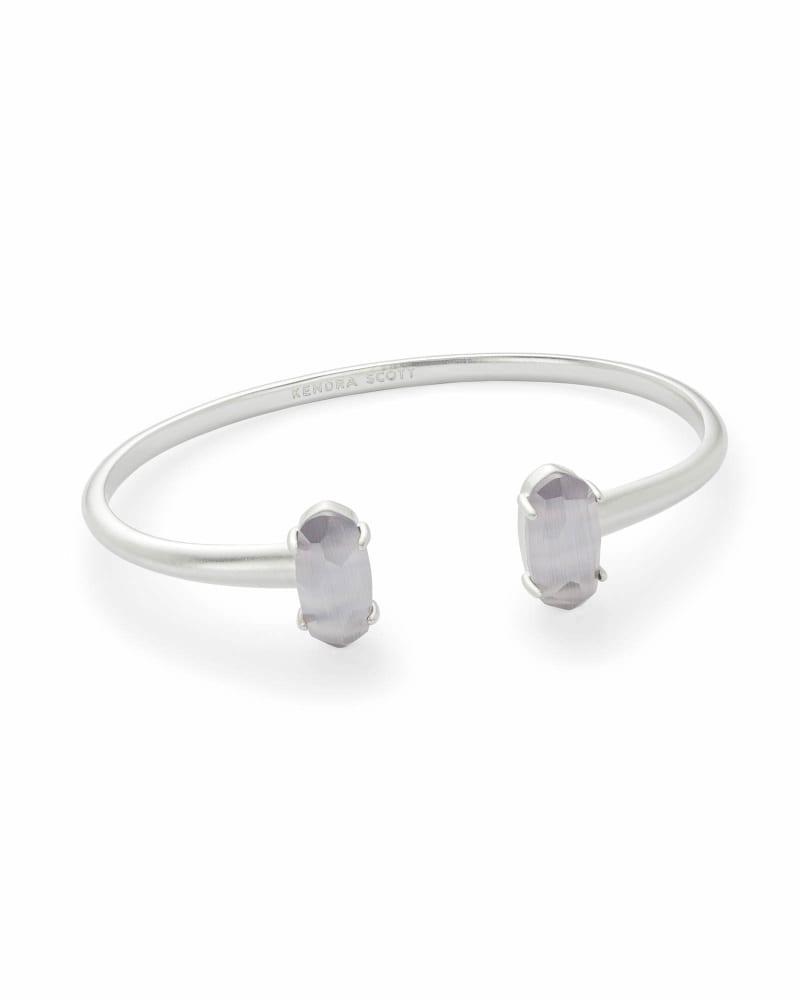 Edie Silver Cuff Bracelet in Slate Cats Eye
