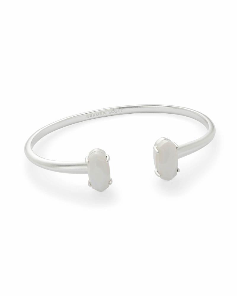 Edie Silver Cuff Bracelet in White Pearl