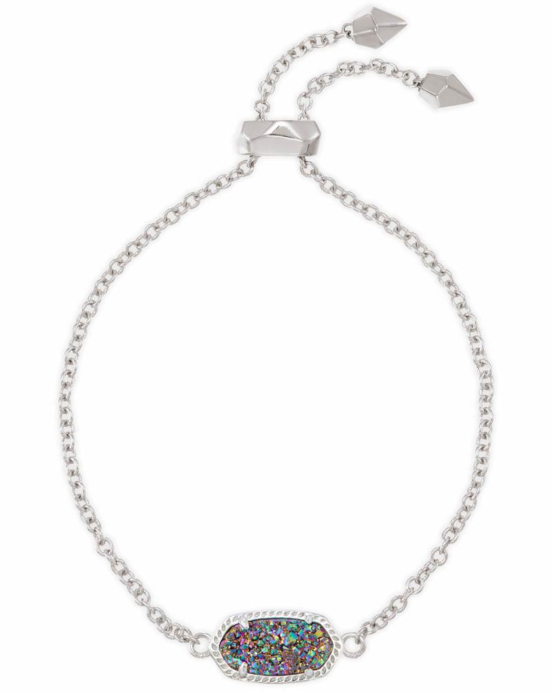 Elaina Silver Adjustable Chain Bracelet in Multicolor Drusy