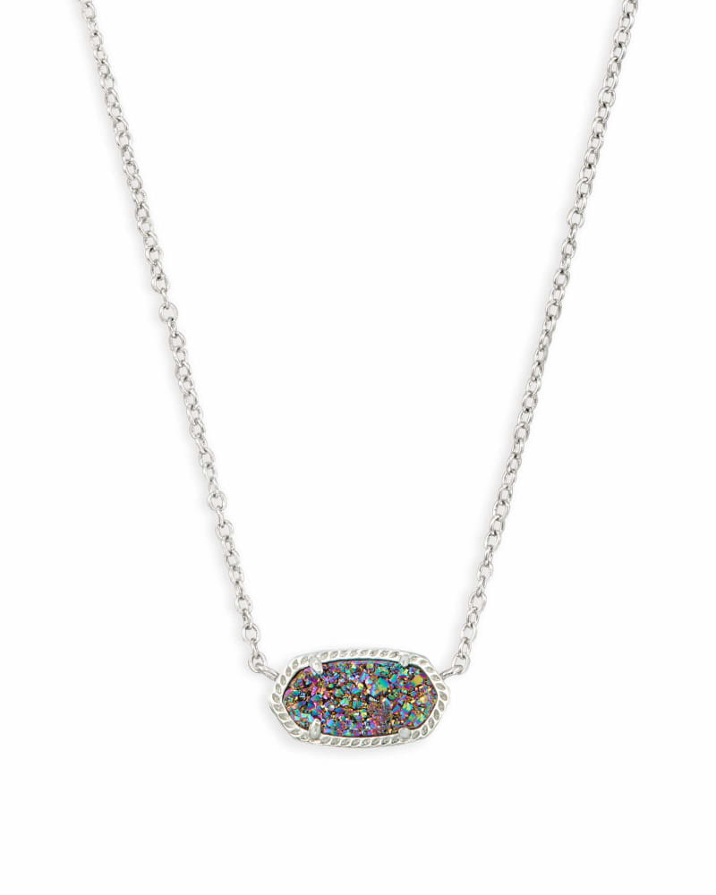 Elisa Silver Pendant Necklace in Multicolor Drusy