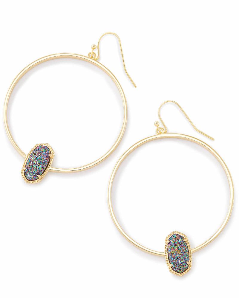 Elora Gold Hoop Earrings In Multicolor Drusy