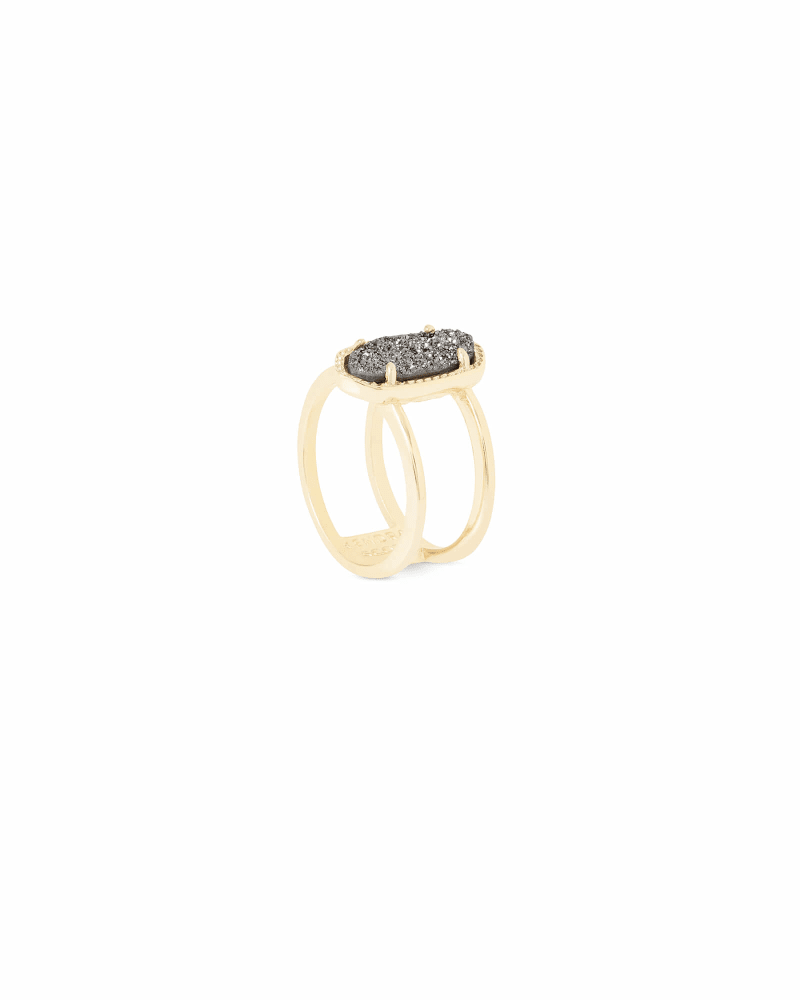 Elyse Gold Ring in Platinum Drusy