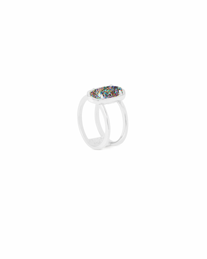 Elyse Silver Ring in Multicolor Drusy