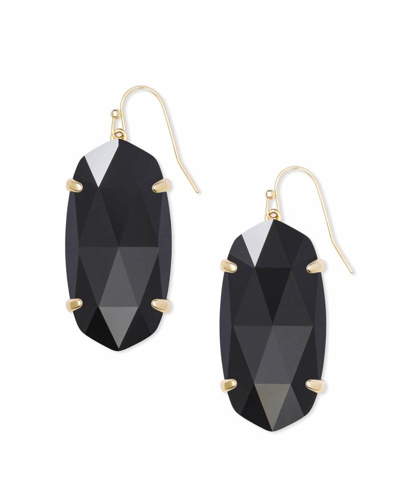 Esme Gold Drop Earrings In Black Opaque Glass