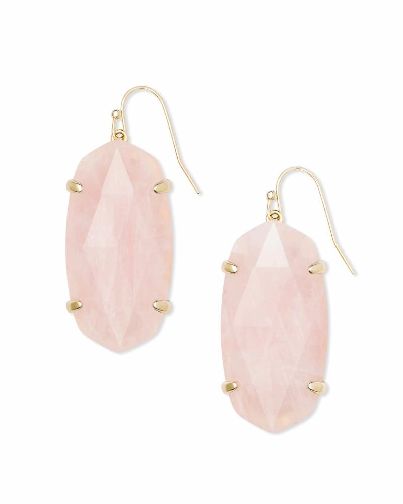 Esme Gold Drop Earrings In Rose Quartz