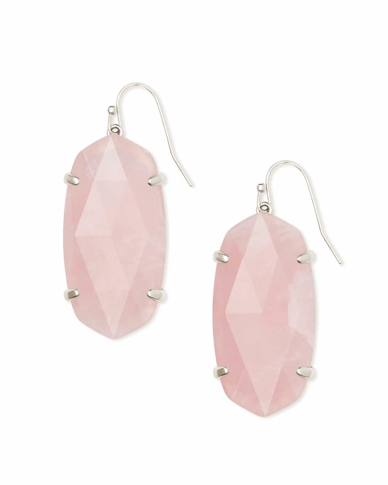 Esme Silver Drop Earrings In Rose Quartz