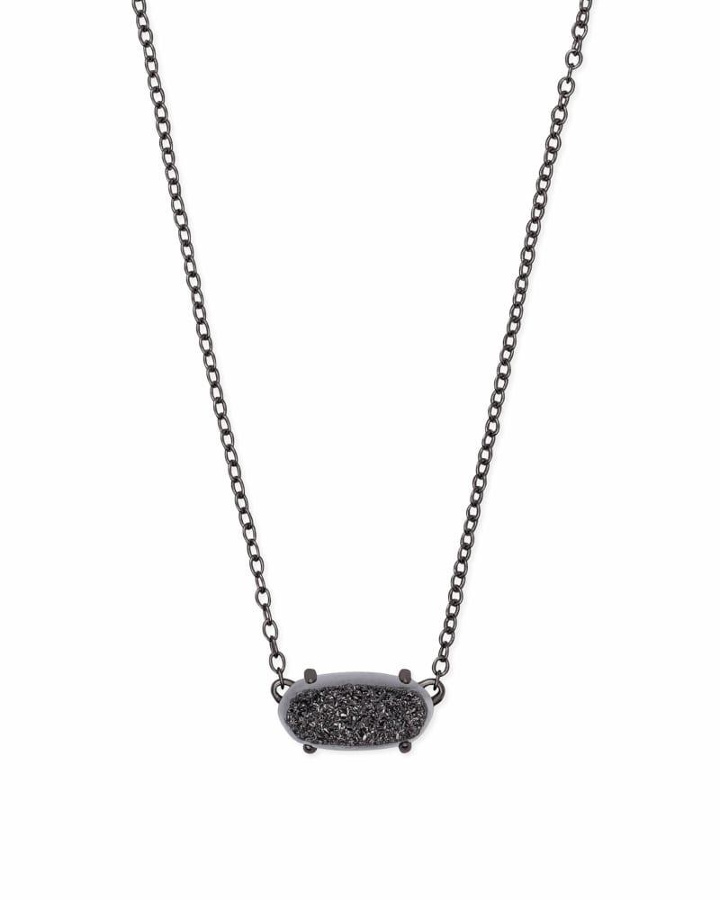 Ever Gunmetal Pendant Necklace in Black Drusy