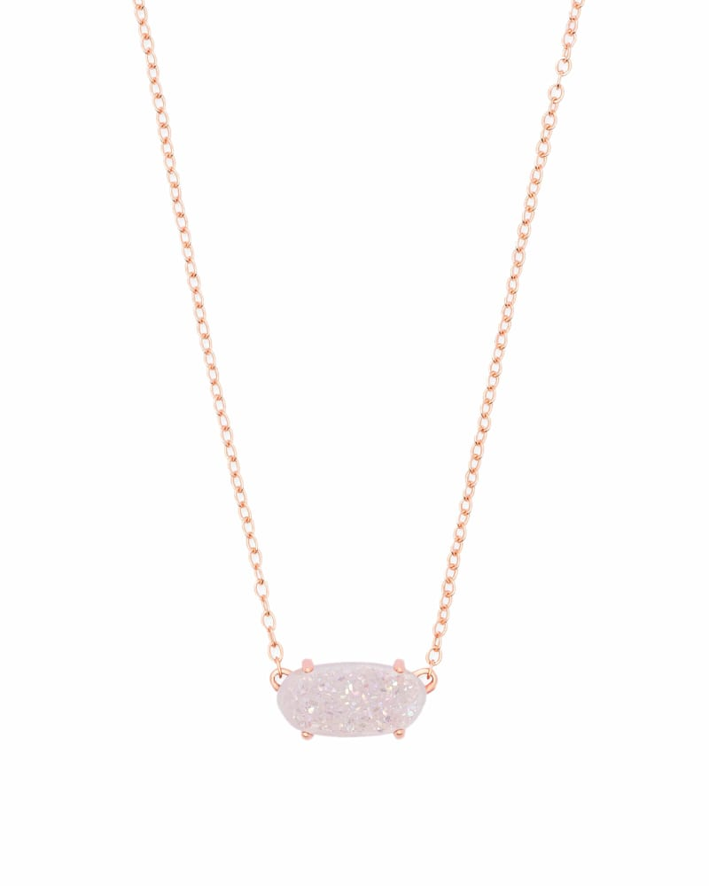 Ever Rose Gold Pendant Necklace in Iridescent Drusy