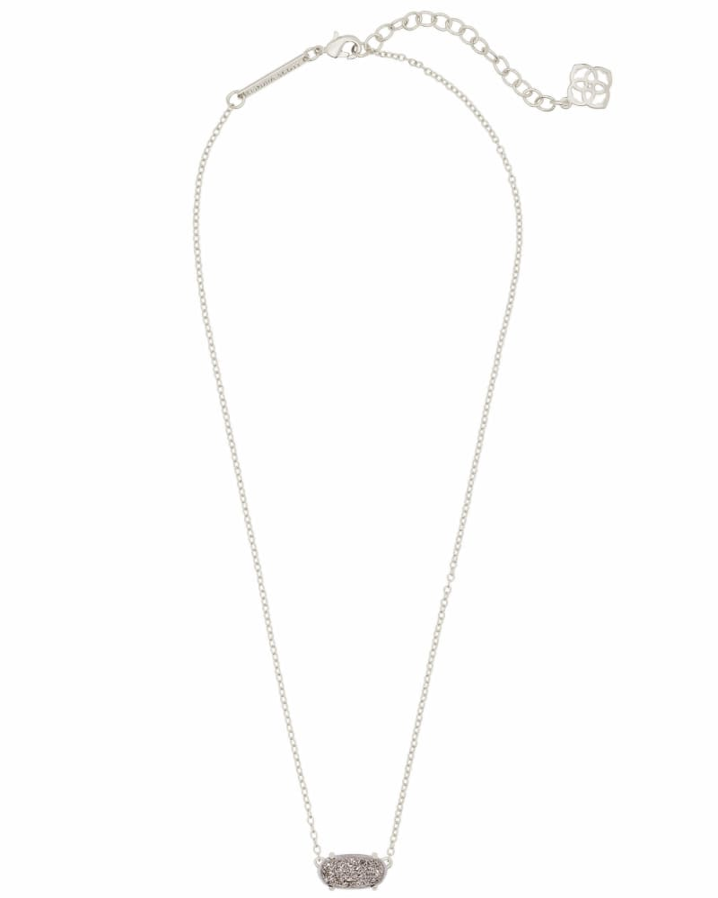 Ever Silver Pendant Necklace in Platinum Drusy