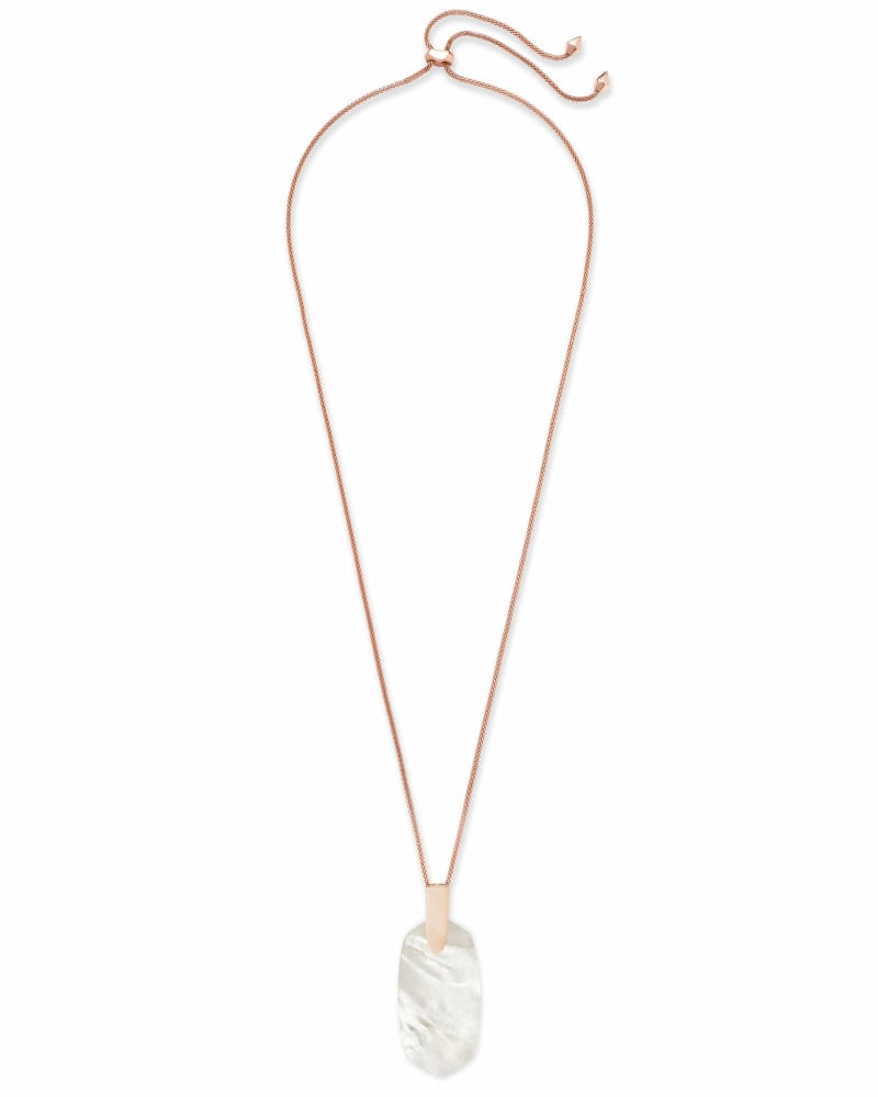 Inez Rose Gold Long Pendant Necklace in Ivory Pearl