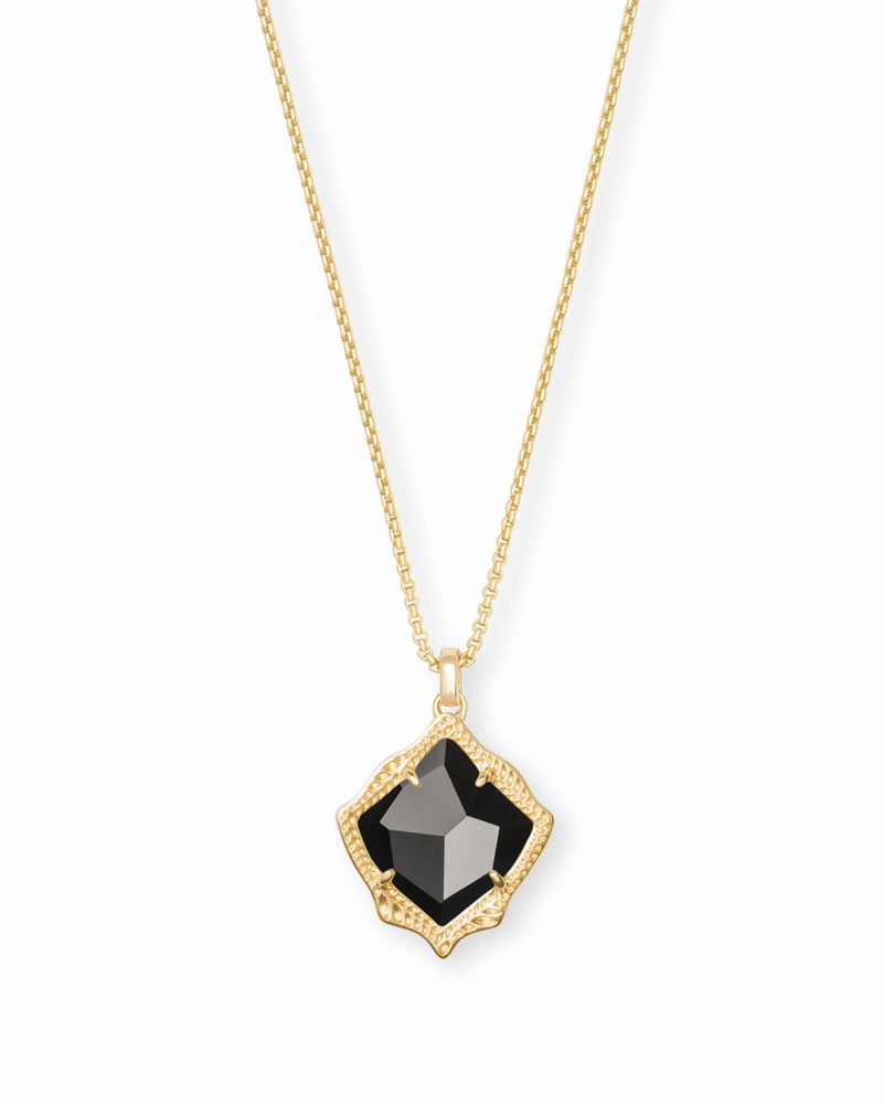 Kacey Gold Long Pendant Necklace in Black Opaque Glass | Kendra Scott