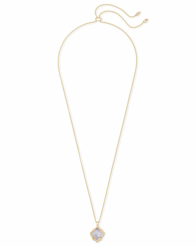 Kacey Gold Long Pendant Necklace in Slate Cats Eye