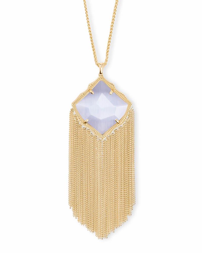Kingston Gold Long Pendant Necklace in Slate Cats Eye
