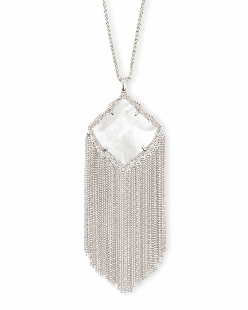 Kingston Silver Long Pendant Necklace in Ivory Pearl