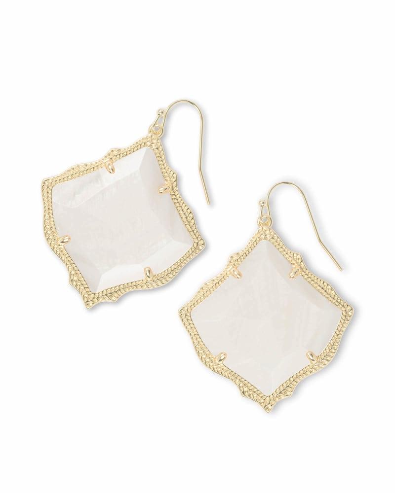Kirsten Gold Drop Earrings in White Pearl