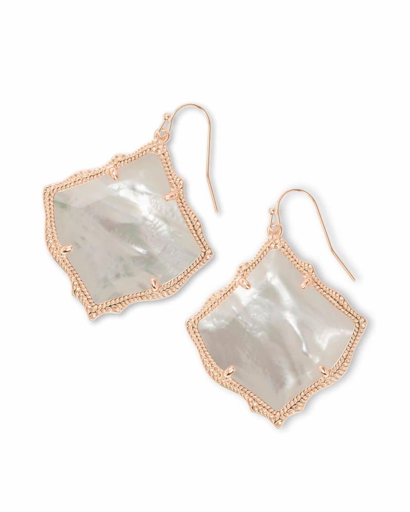 Kirsten Rose Gold Drop Earrings in Ivory Pearl