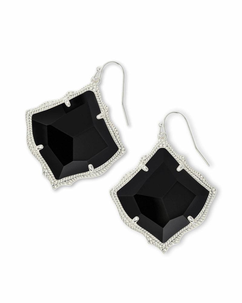 Kirsten Silver Drop Earrings in Black Opaque Glass