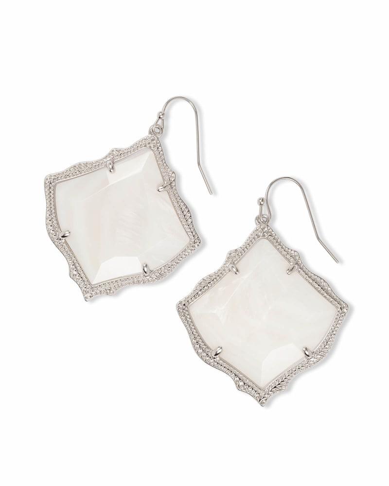 Kirsten Silver Drop Earrings in White Pearl