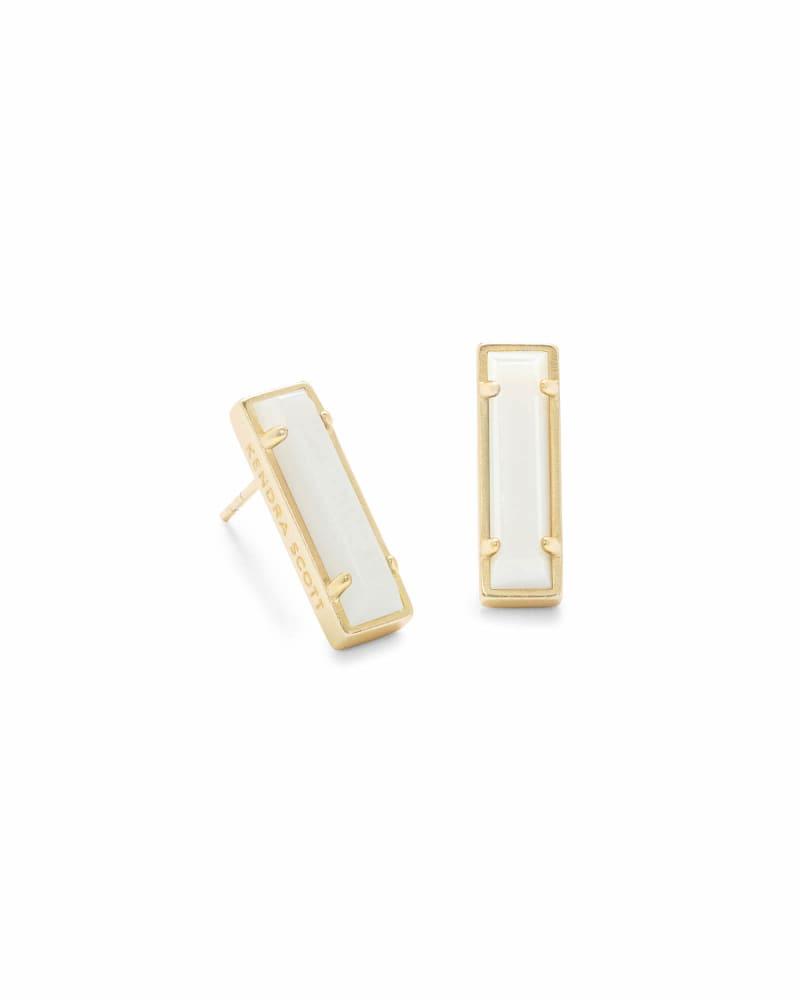 Lady Gold Stud Earrings in White Pearl