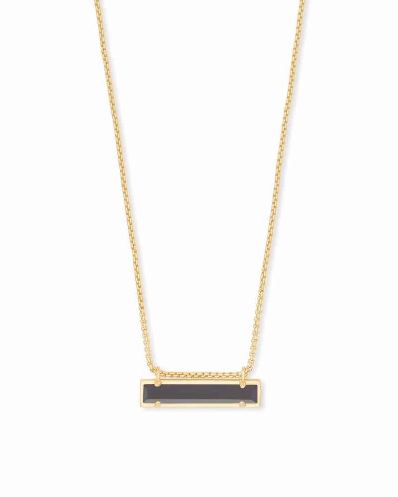 Leanor Gold Pendant Necklace in Black Opaque Glass | Kendra Scott