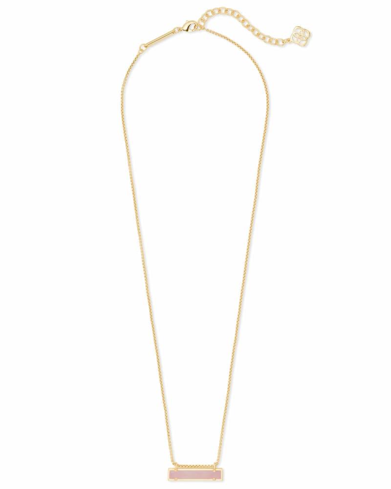 Leanor Gold Pendant Necklace in Rose Quartz