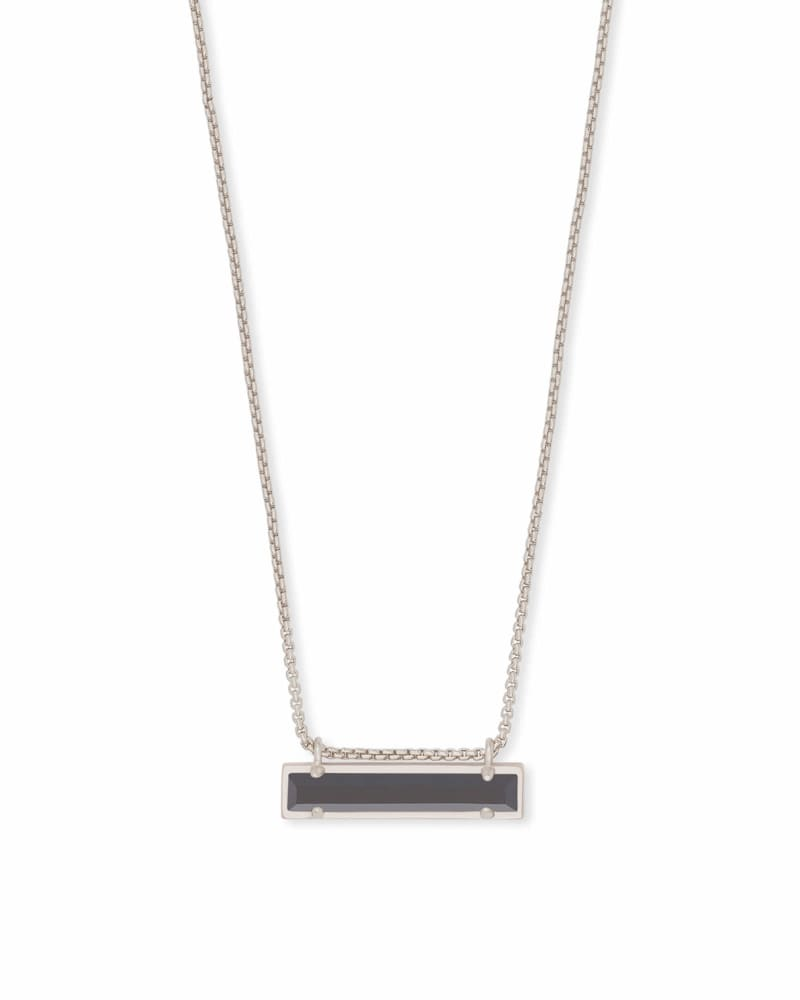 Leanor Silver Pendant Necklace in Black Opaque Glass
