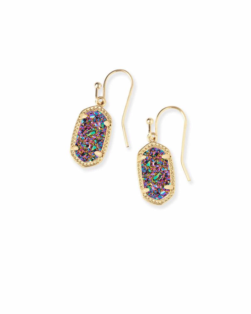Lee Gold Drop Earrings in Multicolor Drusy