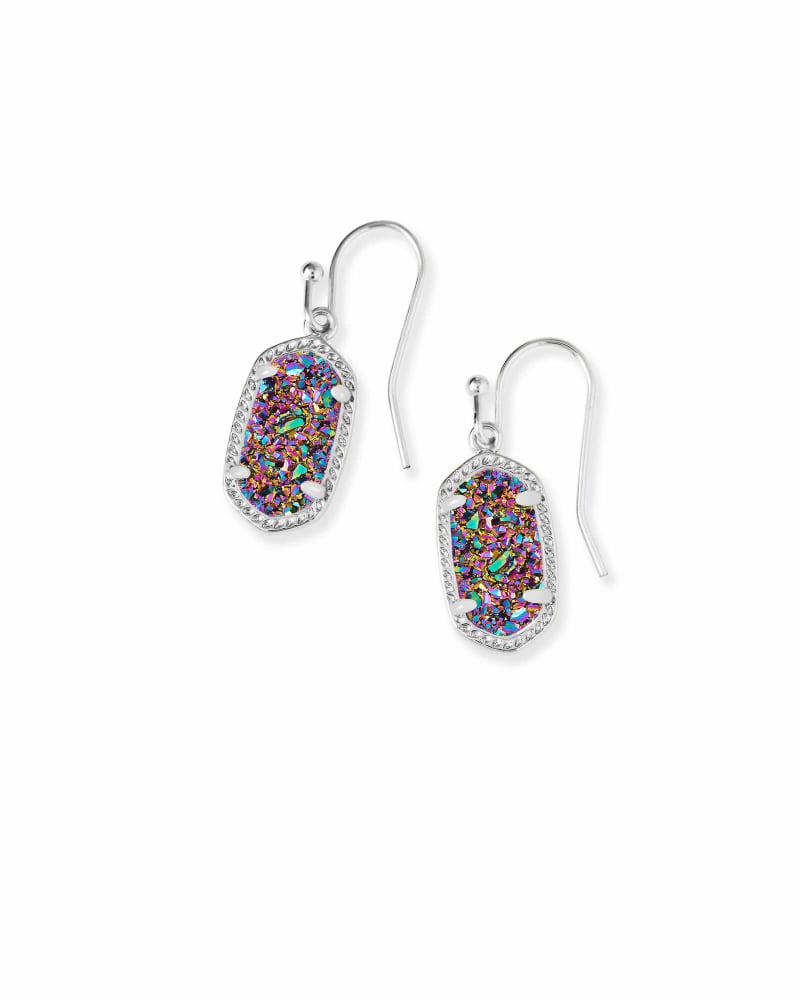 Lee Silver Drop Earrings in Multicolor Drusy
