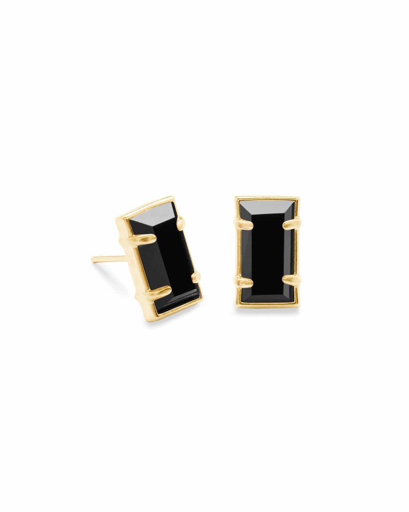 Paola Gold Stud Earrings in Black Opaque Glass