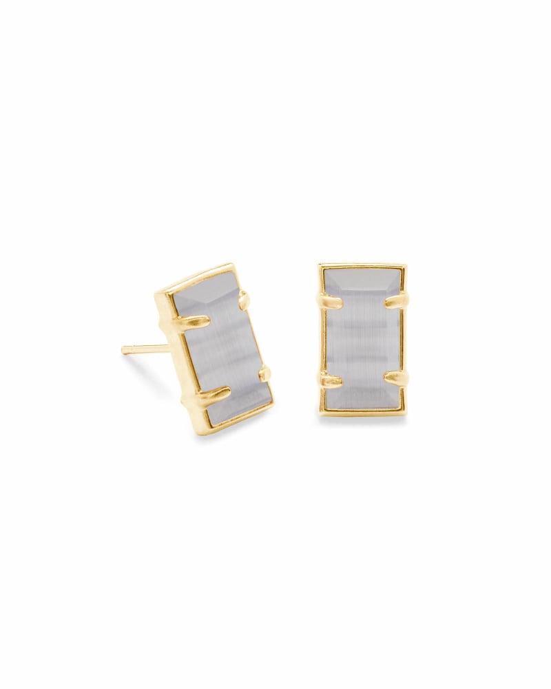 Paola Gold Stud Earrings in Slate Cats Eye