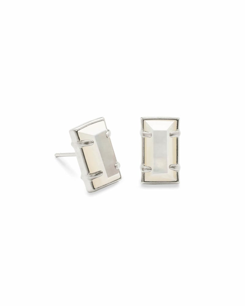 Paola Silver Stud Earrings in Ivory Pearl