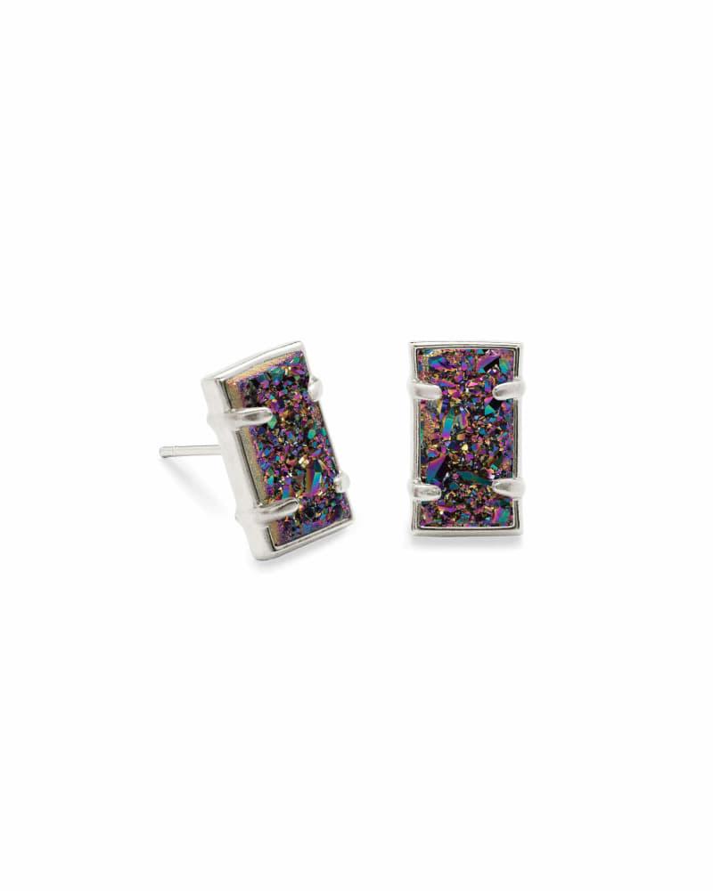 Paola Silver Stud Earrings in Multicolor Drusy
