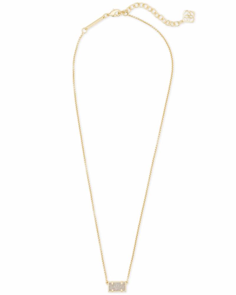 Pattie Gold Pendant Necklace In Iridescent Drusy