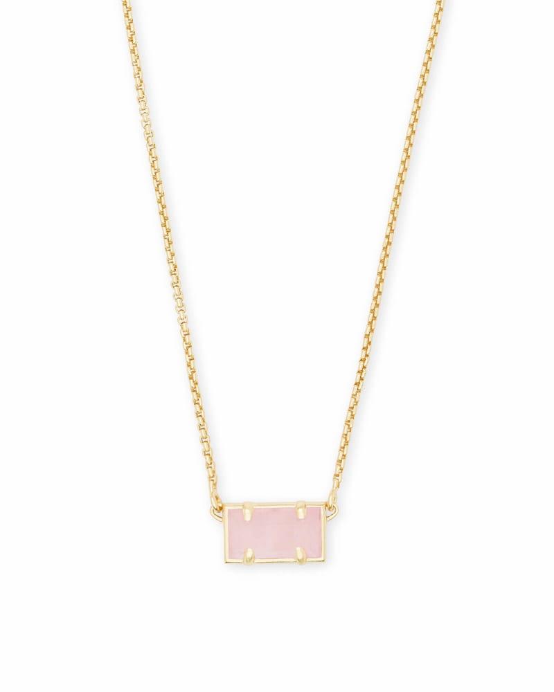 Pattie Gold Pendant Necklace In Rose Quartz