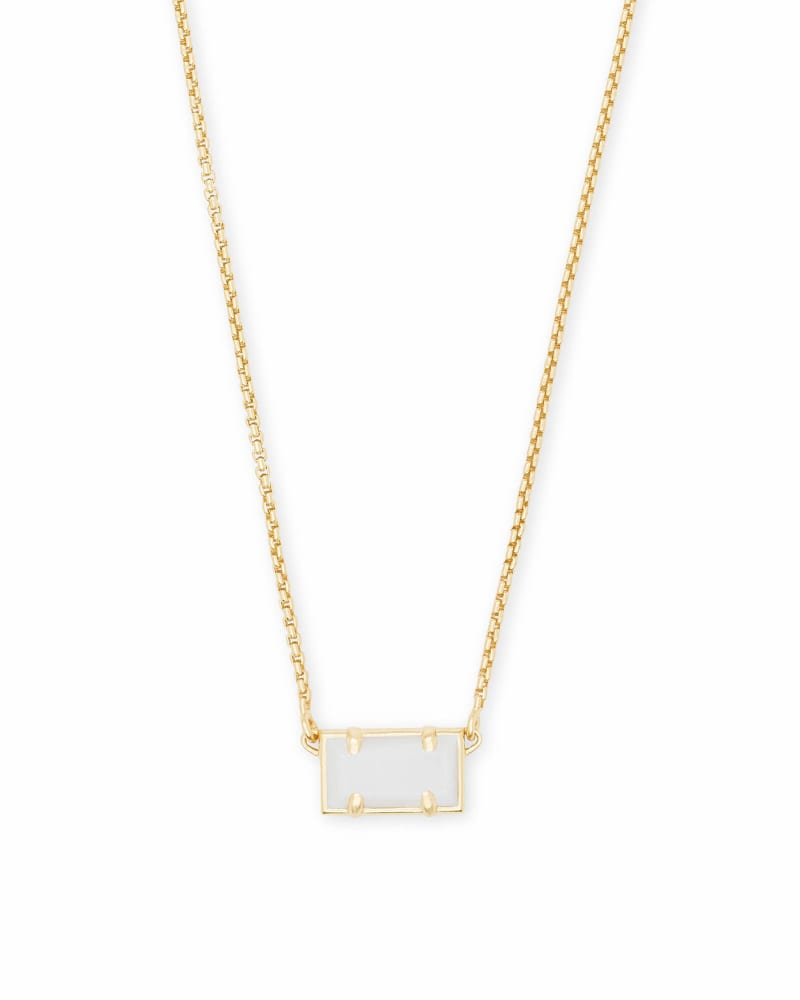 Pattie Gold Pendant Necklace In White Pearl