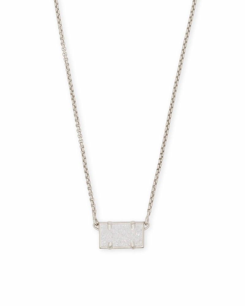 Pattie Silver Pendant Necklace In Iridescent Drusy