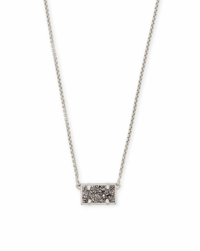 Pattie Silver Pendant Necklace In Platinum Drusy