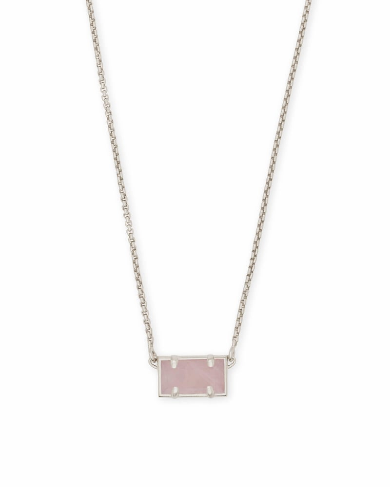 Pattie Silver Pendant Necklace In Rose Quartz