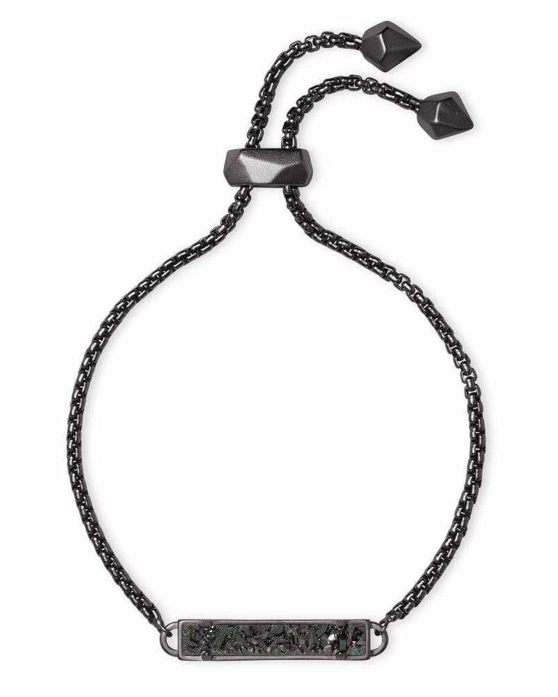 Stan Gunmetal Adjustable Chain Bracelet in Black Drusy