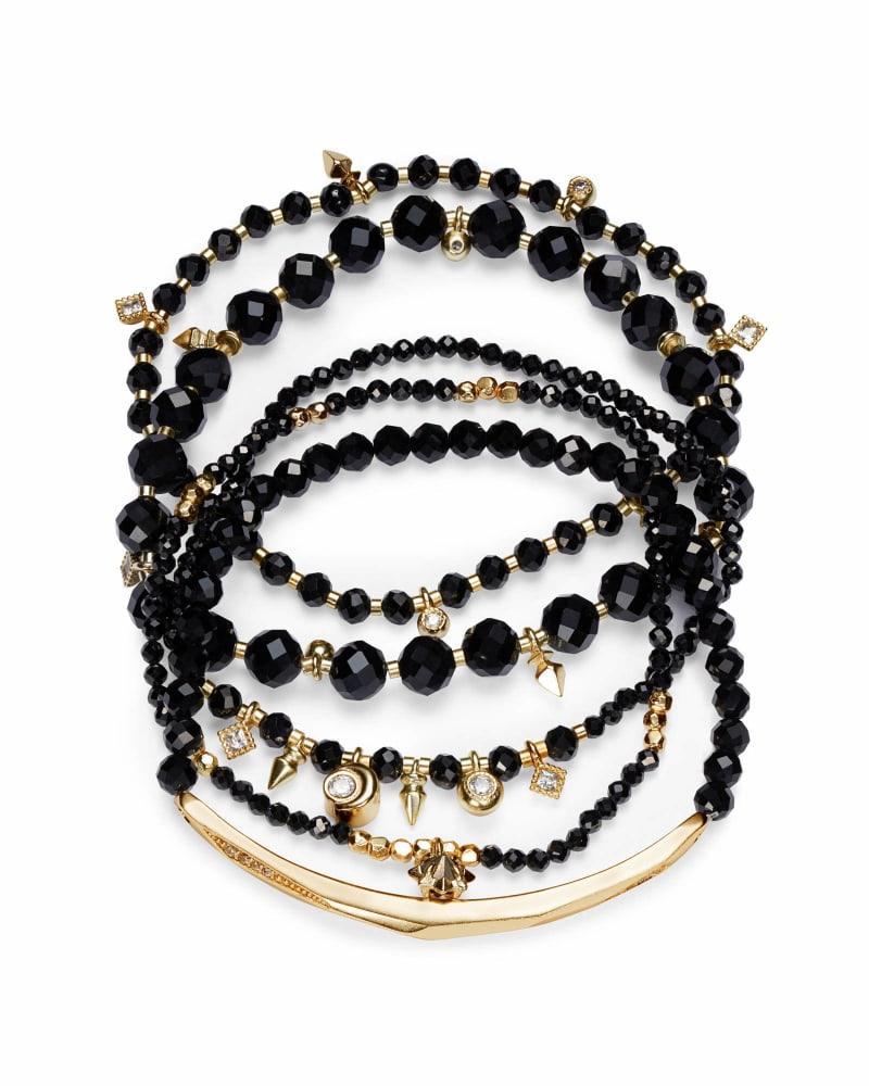Supak Gold Beaded Bracelet Set in Black Spinnel