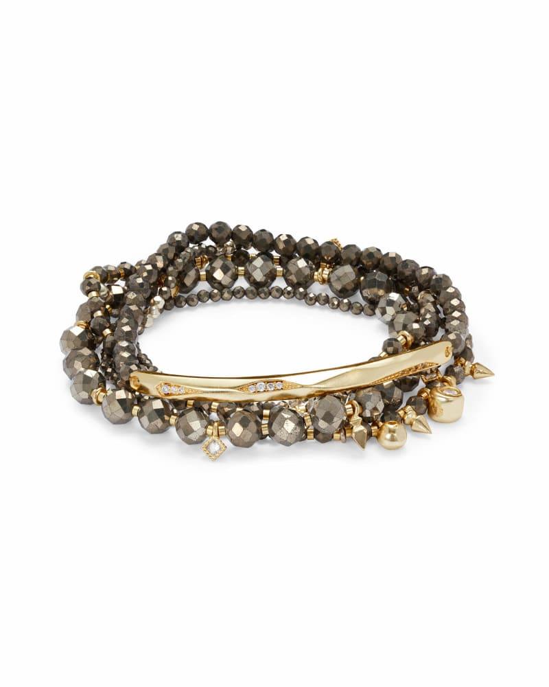 Supak Gold Beaded Bracelet Set in Brown Pyrite