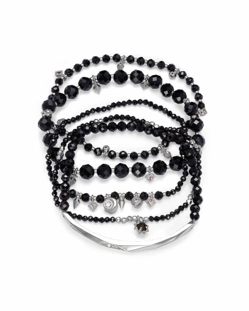 Supak Silver Beaded Bracelet Set in Black Opaque Glass