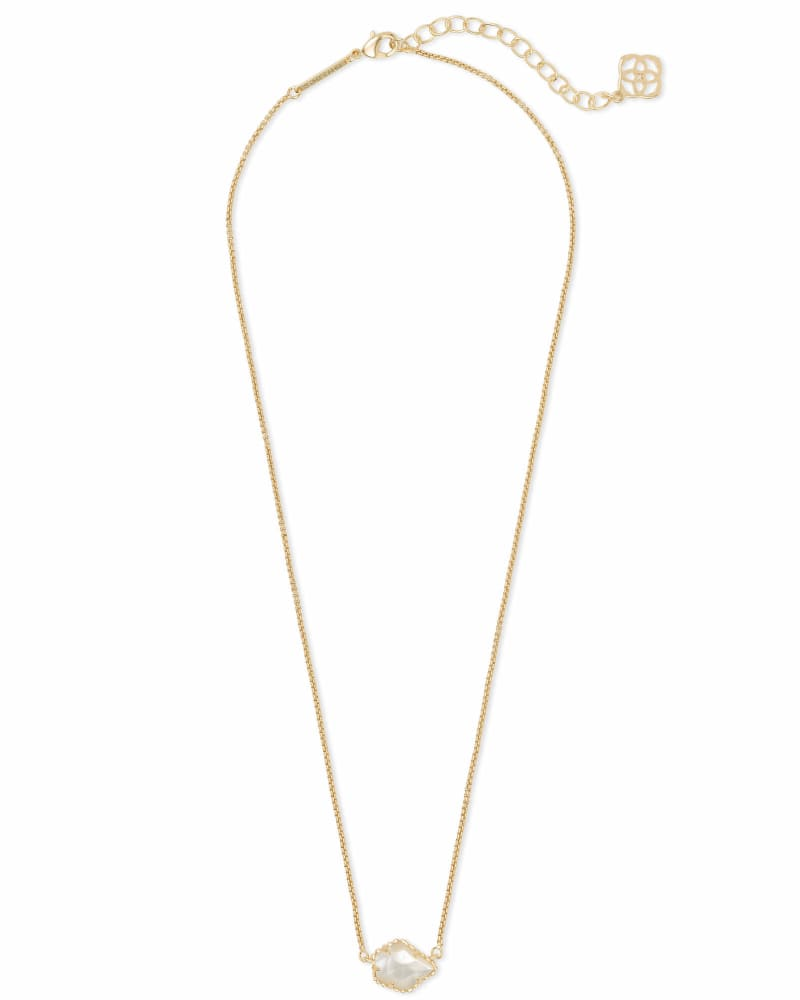Tess Gold Small Pendant Necklace In Ivory Pearl